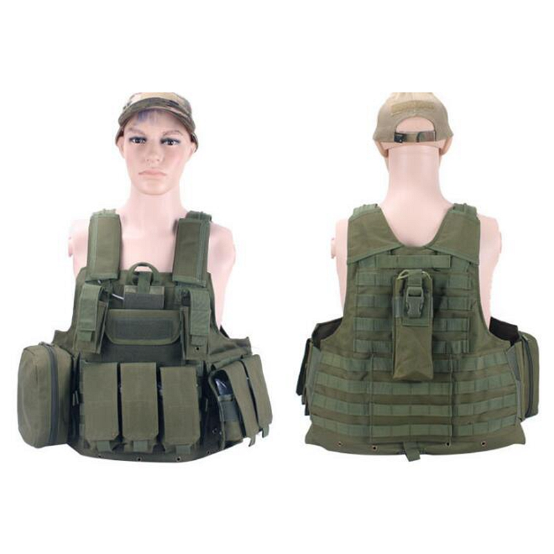 Army Military Tactical Field Vest CS Hunting Airsoft MOLLE Nylon Combat W/Magazine Pouch Outdoor Camo Wargame CS Shooting Sets