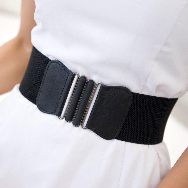 c4d9d31a9113 Marque nouvelle taille ceintures femmes De Mode Lady solide Stretch  Élastique Large Ceinture Robe Parure Pour