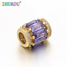 9*12mm Brass Cubic Zirconia Charms Beads DIY Women Necklace Pendant Jewelry Accessory Findings, Hole:4.8mm, Model: VZ95(China)