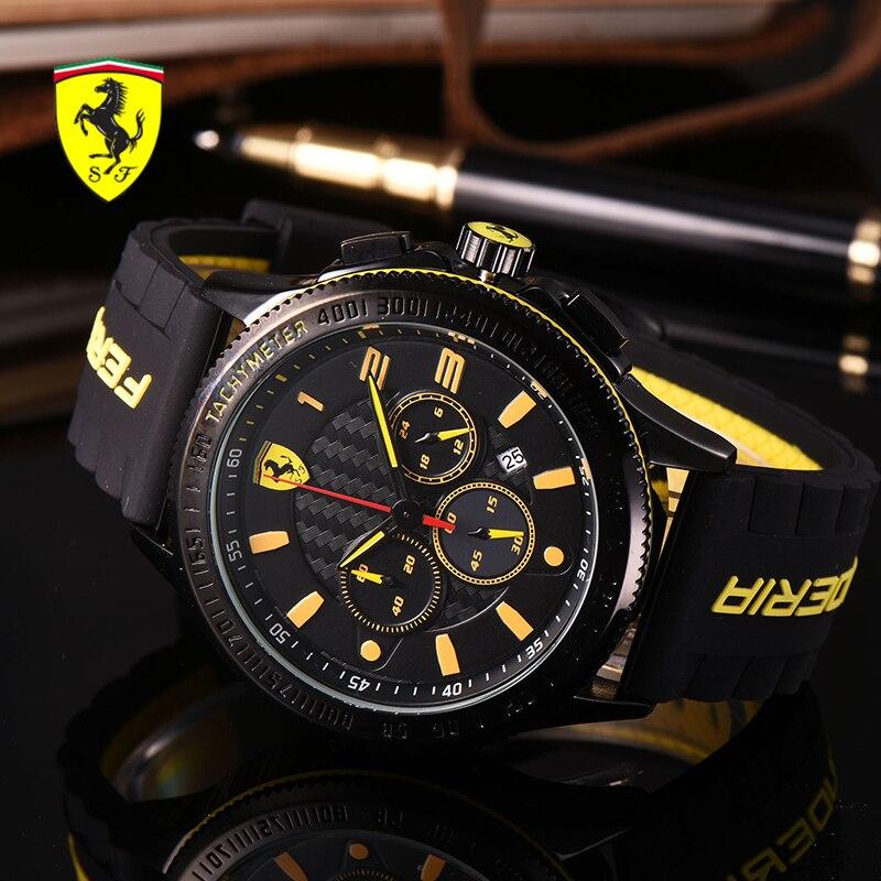 SCUDERIA FERRARI Sport Armbanduhren Mode Harz Uhr Band Wasserdicht Quarz Armbanduhren Wasserdicht Runde Uhr R5632897