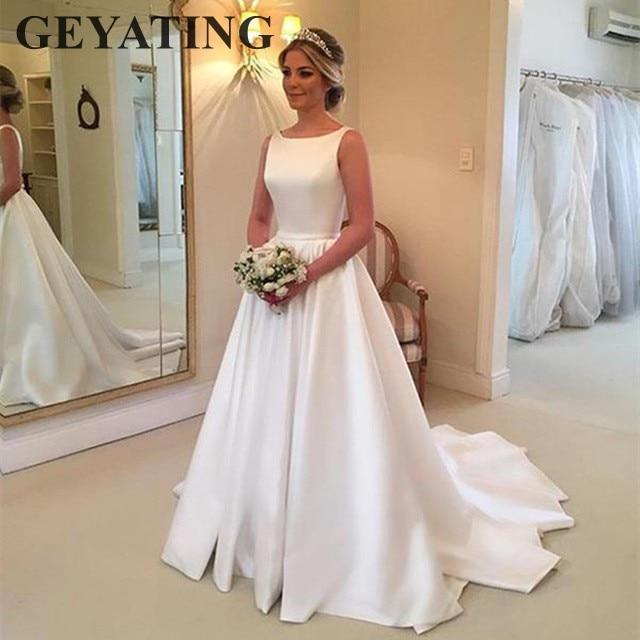 Simple White Satin Wedding Dress 2019 Elegant A Line Sweep