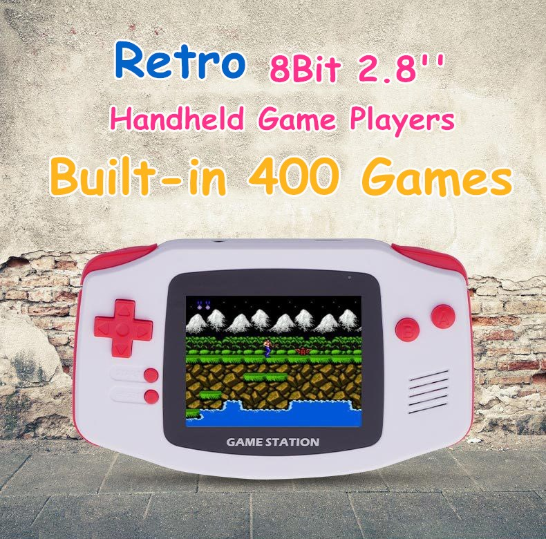 8Bit 2.8''Pocket Retro Portable Mini Handheld Game Players Video Game Console Player LCD Built-in 400 Classic Games to Family TV