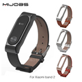 Original Mijobs Strap For Xiaomi Mi Band 2 Metal Leather Belt Bracelet For MiBand 2 Wristbands Replace Accessories For Mi Band 2