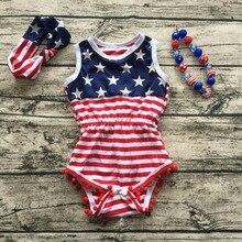 2017 Bébé Fille quatrième de Juillet tenues d'été Barboteuse Jolie Barboteuse nouveau-né fille 4ème de Juillet bébé Juillet 4ème outfit set étoiles imprimer