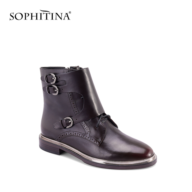 SOPHITINA 2018 New Ankle Boots Comfortable Low Heel Round Toe Retro Casual Shoes Quality Cow Leather With Buckle Women Boots m15