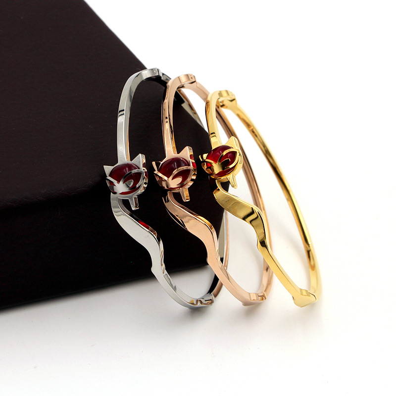 2018 Fashion OL Stainless Steel Better Red Crystal Sex Fox Animal Bangle Bracelet Rose Gold Color Female Woman Party Gift