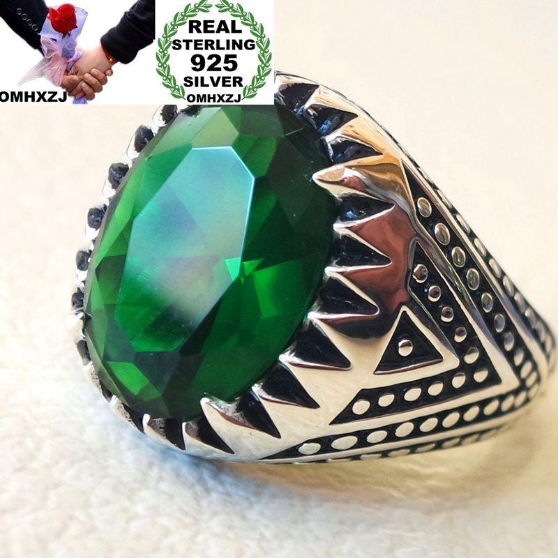 OMHXZJ Wholesale European Fashion Man Party Wedding Gift Silver Black Green Oval AAA Zircon Taiyin Ring RR326