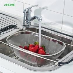 Adjustable Over The Sink Colander Bowl-shaped Draining Basket Kitchen Racks for Washing Fruits Vegetables Stainless Steel Tools
