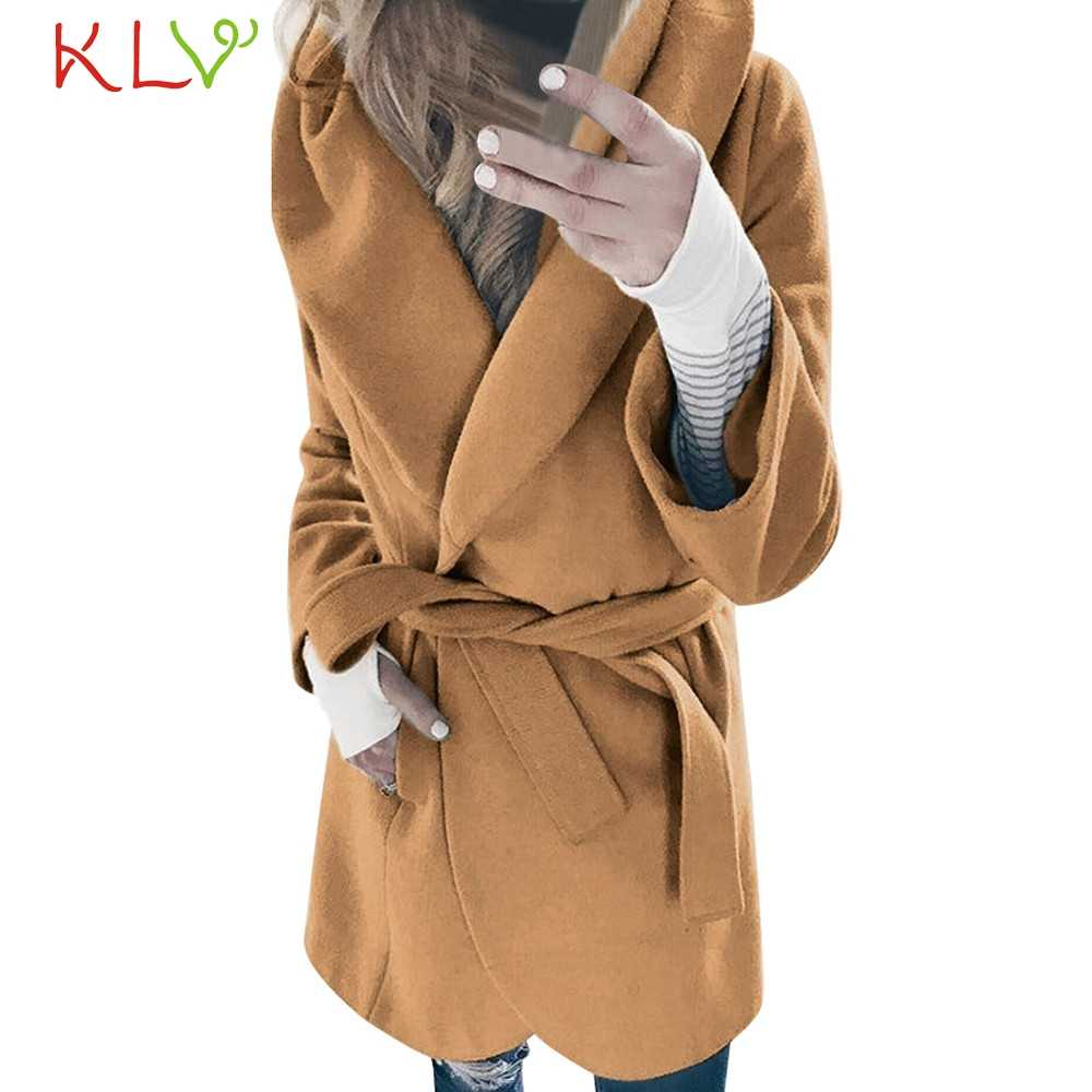 Women Jacket Winter 2018 Solid Wool Lapel Trench Long Plus Size Ladies Chamarra Cazadora Mujer Coat For Girls 18Oct24