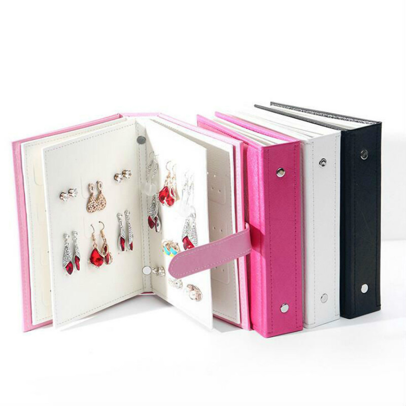 Hot Women Collection Pattern Portable Jewelry Page Display  Leather Stud Earrings Jewelry Display Holder Jewellery Organizer