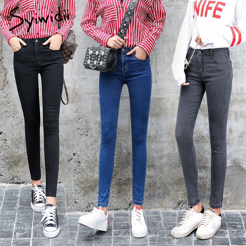Woman's   Jeans   High Waist Mom   Jeans   Plus Size Full Length Skinny   Jeans   Woman Mujer with Pocket Pencil Pants Fashion Slim Trousers
