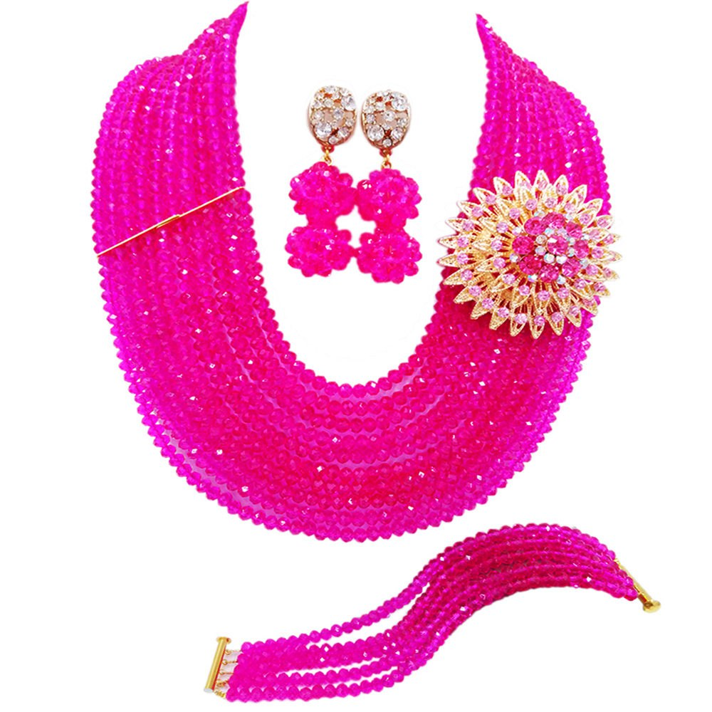 Fuchsia Pink African Beads Jewelry Set Crystal Statement Necklace Nigerian Wedding Bridal Party Jewelry Sets 10DSK08