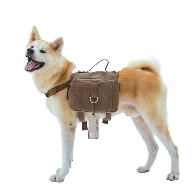 Onetigris Saddle-Bag Dog-Backpack Large Medium Camping Travel Rucksack Canvas for