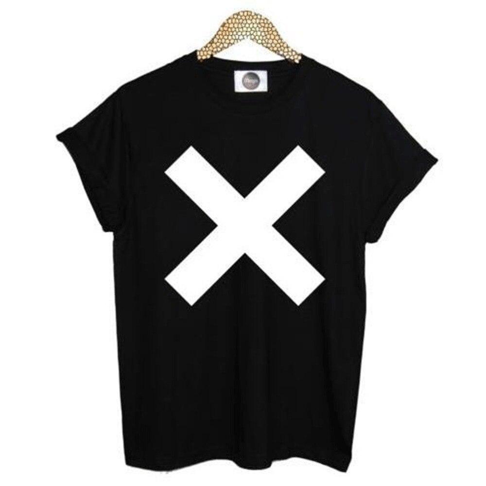 Black t shirt white cross - Xx Print Tshirt For Women Men Cotton Casual Hipster Shirt White Top Tees Big Size S Xxxl Drop Ship