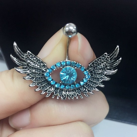 Us 1 16 Hot Angel Wing Navel Piercing Sexy Blue Crystal Evil Eye Belly Button Rings Body Jewelry Piercing Rhinestone Big Eye Belly Ring On
