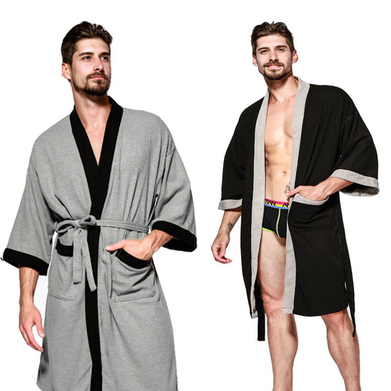 Summer Five-Star Hotel Cotton Solid Mens Robes Nightgowns Bathrobe Suck Sweat Bath Towels Gown Male Lounge Robe Thin Sleepwear