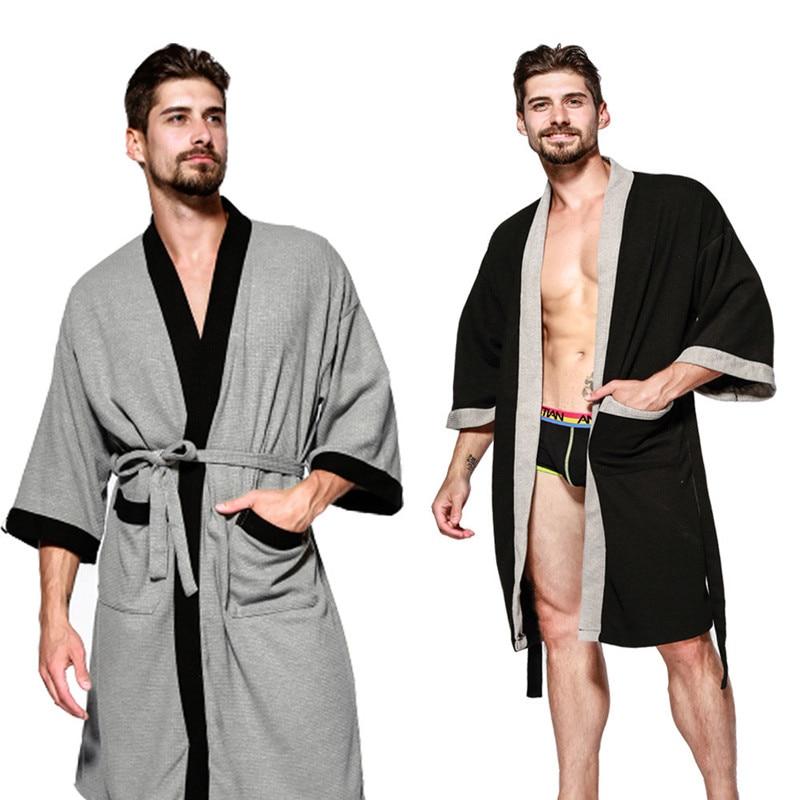 Summer Five-Star Hotel Cotton Solid Mens Robes Nightgowns Bathrobe Suck Sweat Bath Towels Gown Male Lounge Robe Thin Sleepwear