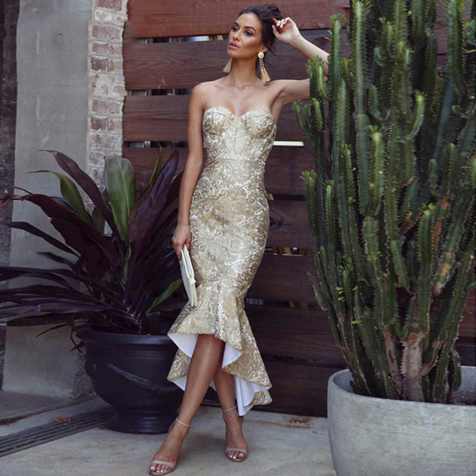 Seamyla Luxury Gold Lace Runway Dress Women Sexy Strapless Mermaid Bandage Dresses Vestido Elegant Bodycon Evening