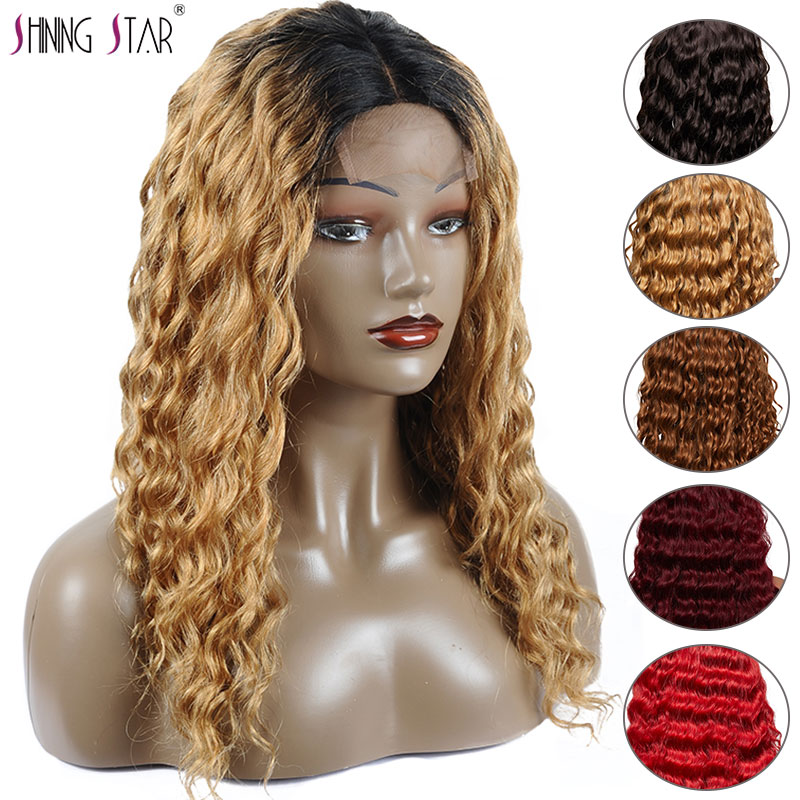 Shining Star Loose Deep Wave Human Hair Wigs For Women Black Blonde Ombre Brazilian Lace Front