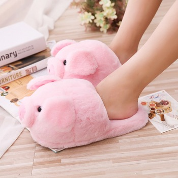 d9460df4ab9115 ... Millffy cute Lovely Women Flip Flop Cute Pig Shape Home Floor Soft  Stripe Slippers Female Shoes