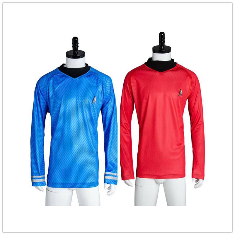 Star Cosplay Trek Costume Captain Kirk Blue Red O-Neck Knit Shirt Uniform For Men Halloween Unisex Loose Cosplay Costume(China)