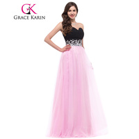 Free Shipping Charming Grace Karin Pink And Black Long Formal Evening Gown Chiffon Tulle CL4415