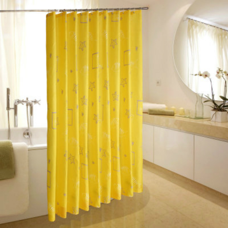 Yellow Polyester Printing Shower Curtain Waterproof Mold ...