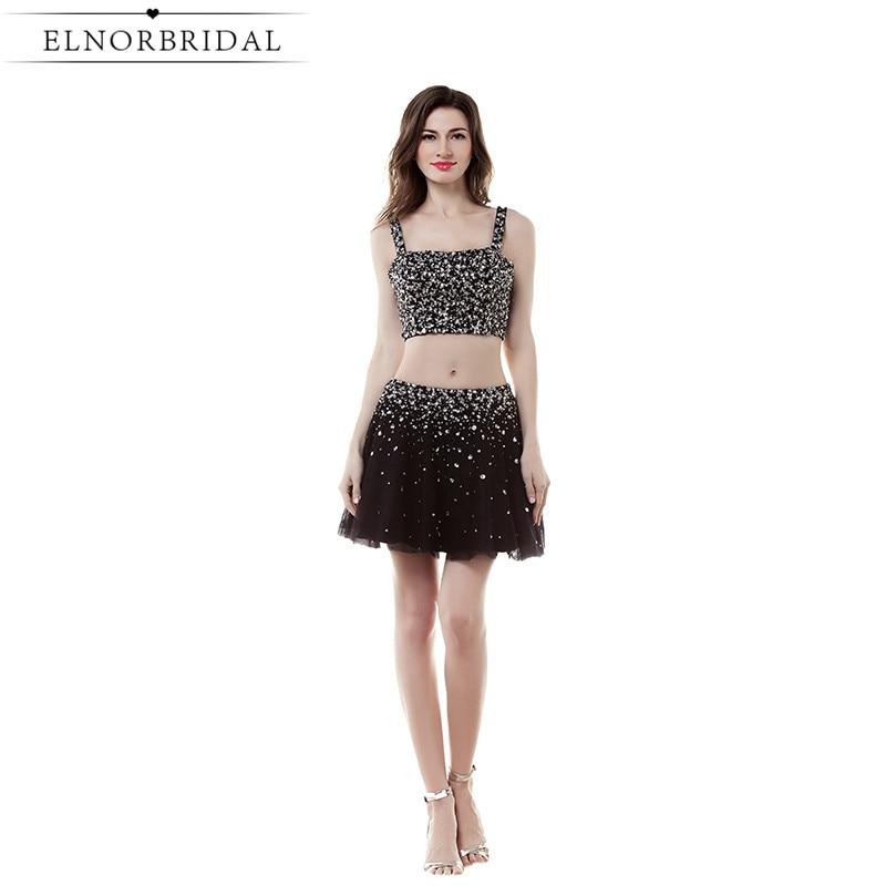 Schwarze Kurze Ballkleider Sexy 2019 Vestido Formatura Perlen Tüll Besondere Anlässe Mädchen Pageant Kleid Mini Party Kleider