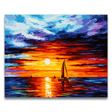 coloring by numbers Abstract seascape sunrise series pictures paintings  sea with colors drawing framed for adults