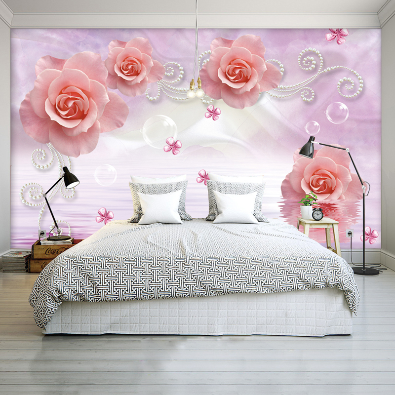 Custom Photo Wallpaper Floral Non-woven European 3D Stereo Mural Wall Paper For Living Room Wallpaper TV Background Home Decor non woven bubble butterfly wallpaper design modern pastoral flock 3d circle wall paper for living room background walls 10m roll