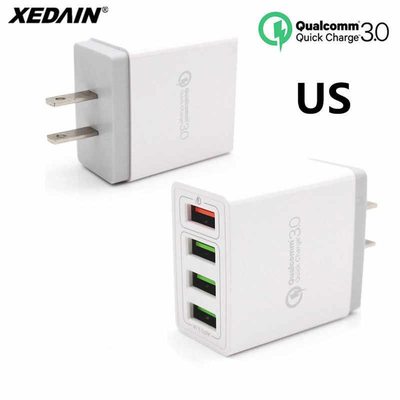 XEDAIN الاتحاد الأوروبي/الولايات المتحدة التوصيل شحن البيانات كابل للهاتف 4 منافذ 6.2A سريعة شاحن QC 3.0 شاحن يو اس بي ل iphone ipad سامسونج هواوي Xiaomi سوني