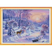 A floresta pintura neve contados cross stitch 11ct 14ct dmc cross stitch define diy ponto cruz bordados kits needlework wr063