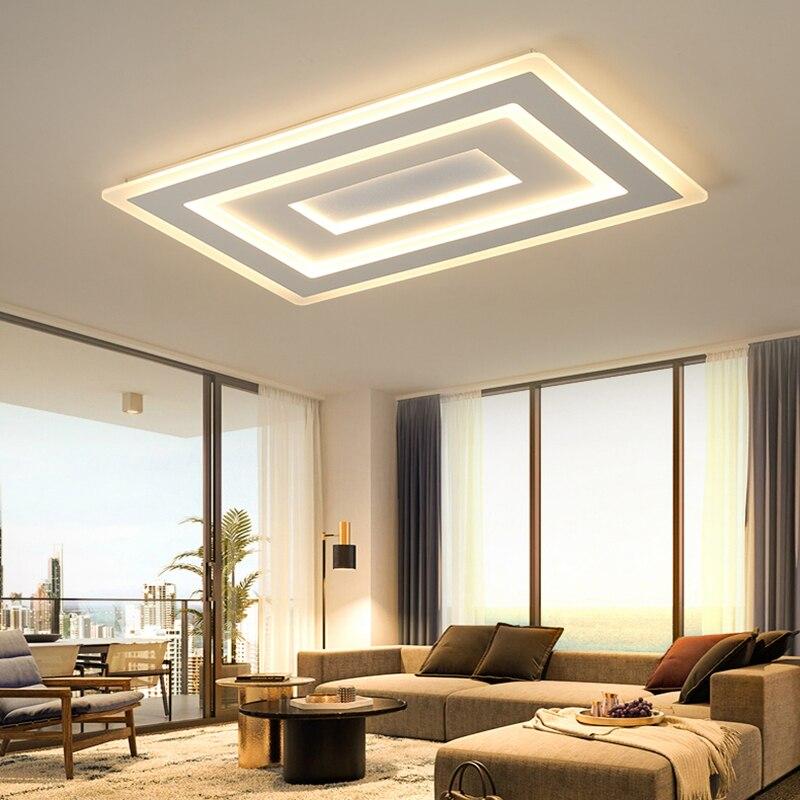 Ультра-тонкий поверхностный монтаж современные светодио дный светодиодные потолочные светильники lamparas de techo прямоугольные акриловые квад...