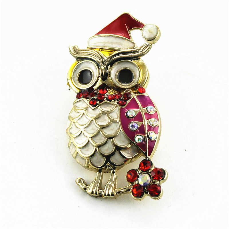 Di modo di nuovo della perla volpe del gufo in lega di zinco oro della signora spilla accessori di moda i regali di natale minimo del commercio all'ingrosso del regalo