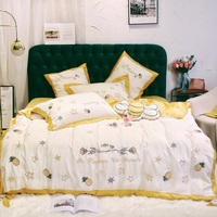 yellow 4/7Pcs Bedding Set soft tencel Bedclothes embroidery pineapple Bed Linens Duvet Cover Set Bee cushion cover Bed Sheet