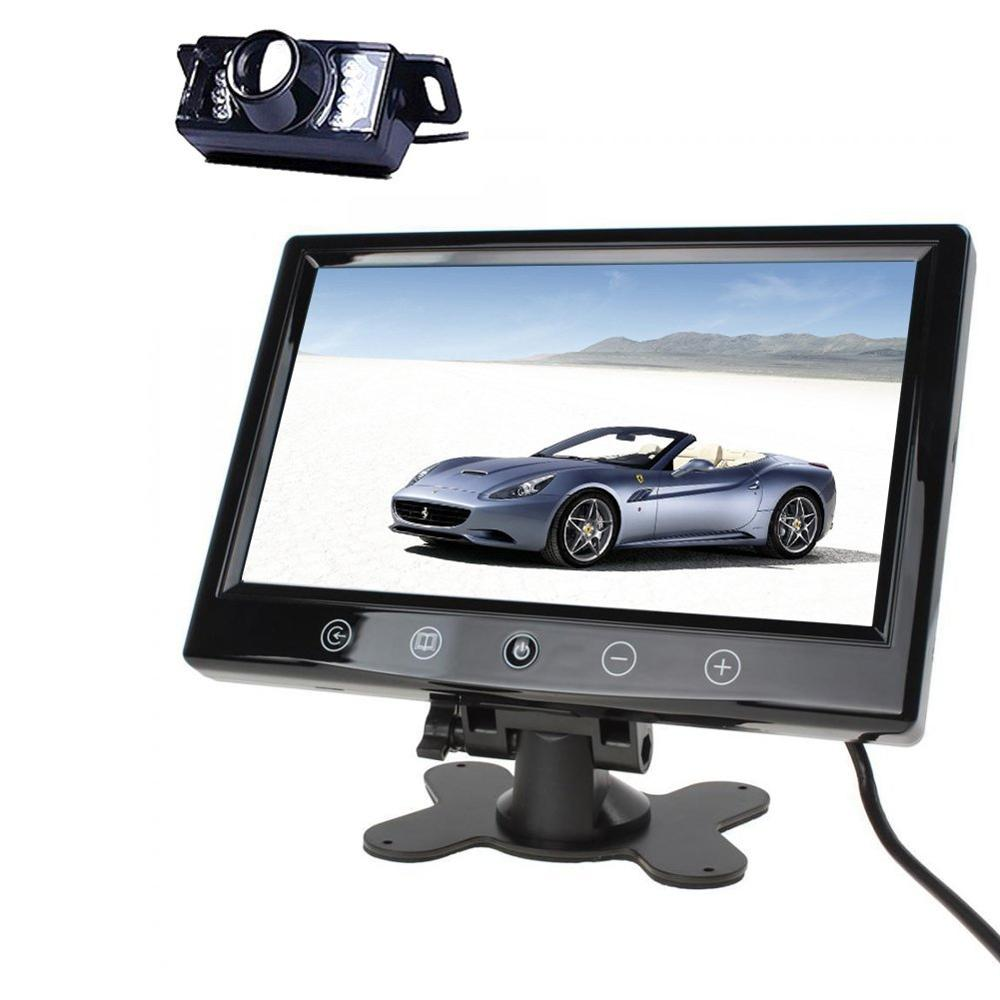 HD LCD 9 inch TFT Car rearview Monitor 16:9 Color screen Waterproof backup rear view camera IR remote control car Monitor Kits