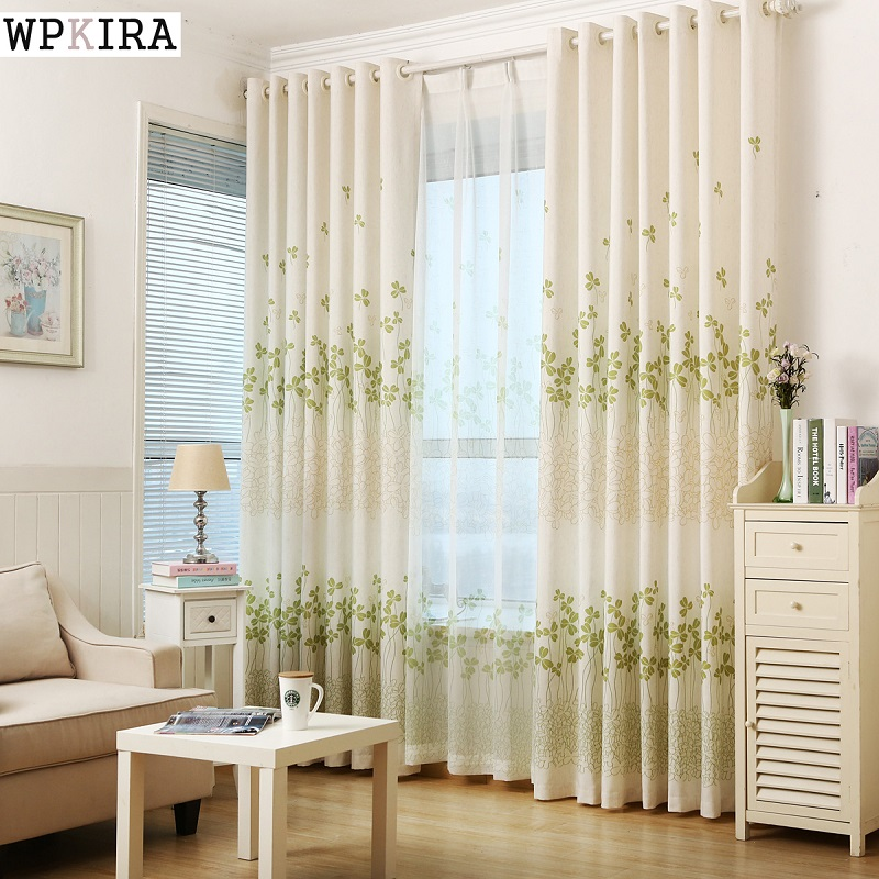 Modern Window Screening Sheer Curtains Living Room Bedroom Tulle Green Leaves Fabric Blinds Curtain