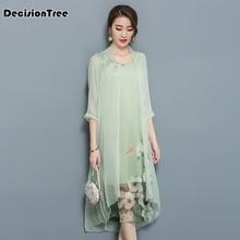 2019 chinese style dress vietnam aodai traditional green two pieces cheongsam robe chinoise qipao