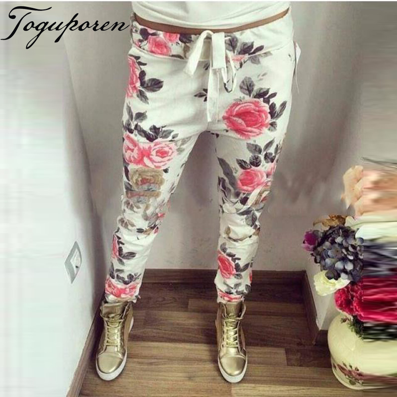 New Fashion Women Casual Pants Flower printed Womens Harem Pants 2018 Summer Capris Trousers