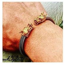 Hommes de Manchette Bracelets Élastique Réglable Vintage Hommes Dragon En Acier Inoxydable Câble Torsadé Bracelet et Bracelet Pulseira Masculina