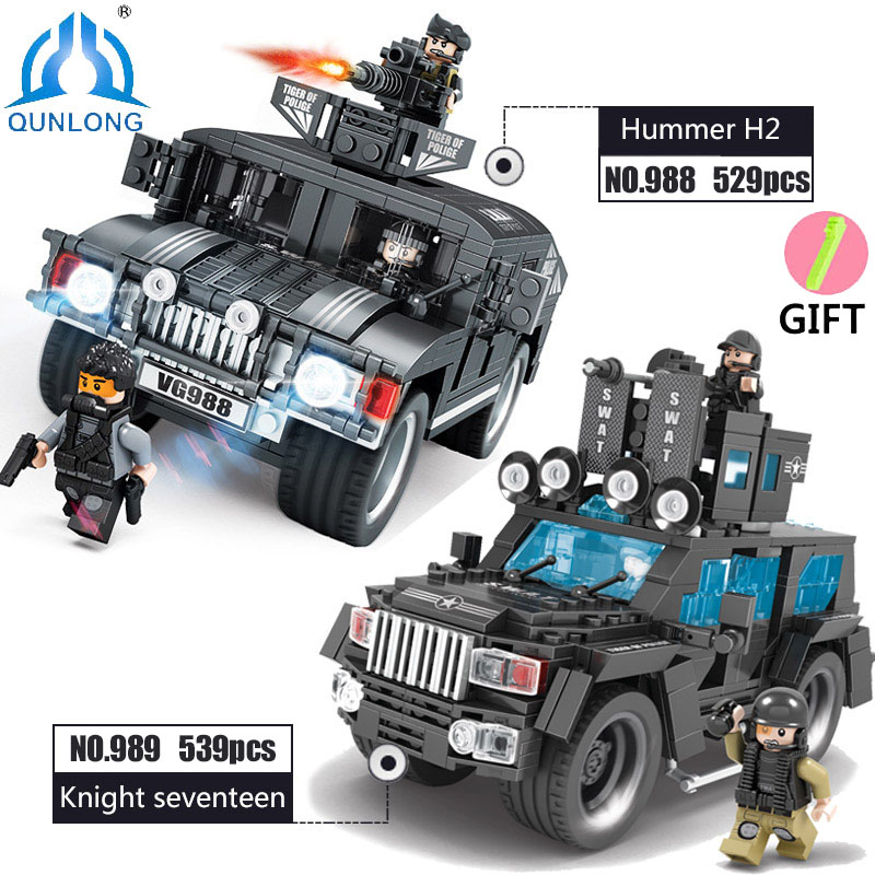 Qunlong Toys Military SWAT Commando Figures Trucks Building Blocks Compatible legoe city Police Star Wars Boy Toys For Children 0367 sluban 678pcs city series international airport model building blocks enlighten figure toys for children compatible legoe