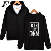 LUCKYFRIDAYF 2017 BTS NEW SONG DNA Kpop Autumn Zipper Hoodies Men Women Cap Casual Top Coat