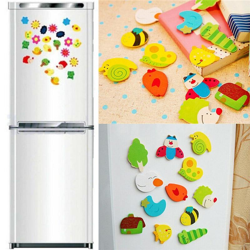 24pcs Novelty Animals Wooden Fridge Magnet Sticker Cute Funny Refrigerator Toy