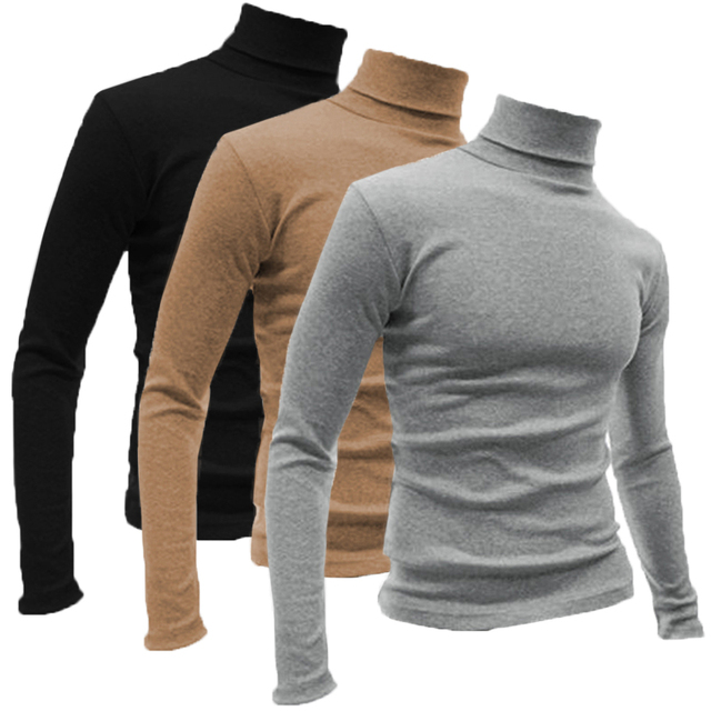 63540f4147cfeb Warm Winter Long Sleeve T-shirts Men Turtleneck High Neck Tee Slim Fit  Muscle Bodybuilding