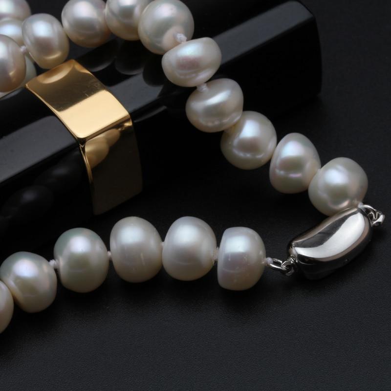 f055917014ea Yikalaisi 2017 nueva 8-9mm verdadera perla natural Collar para las mujeres  esterlina 925 Plata