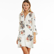0690574c5799 Young17 Women Chiffon Floral Print Dress White Lace Up Criss Cross Deep V  Neck Sexy Dresses Elegant Flare Sleeve Boho Dress