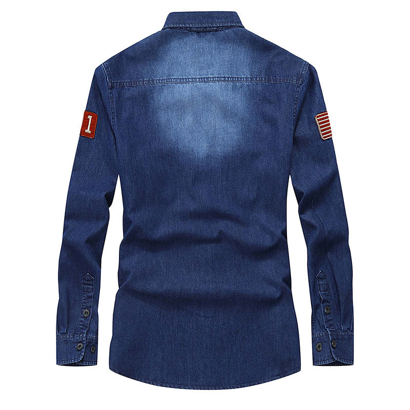 CLOTHES 2017 Spring Autumn Blue Mens Denim Cotton Dress Shirts New Hombre Asia Size Blouse Vestido Clothes Casual M~ 3XL