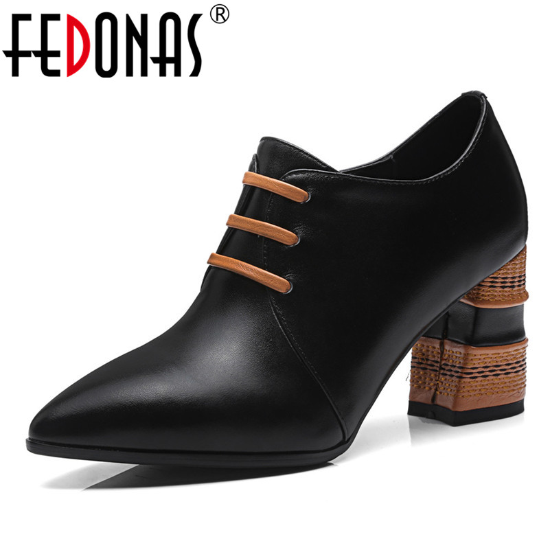 FEDONAS Sexy Women Genuine Leather High Heeled Pumps Sexy Pointed Toe Elegant Office Shoes Woman Zipper Club Prom Pumps fedonas sexy pointed toe women genuine leather pumps close toe summer shoes mules high heeled sandals sexy women slippers