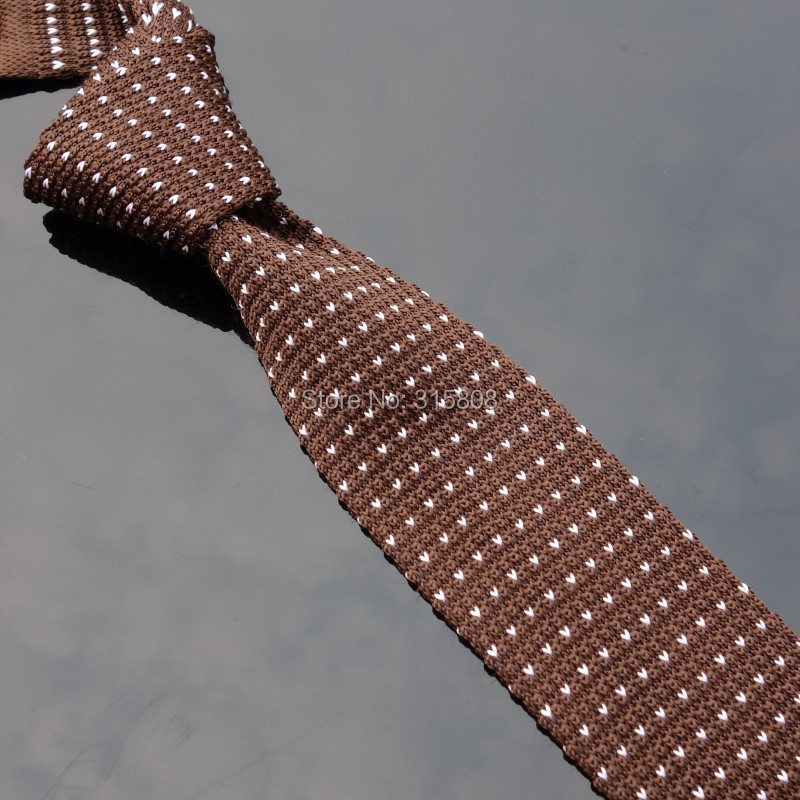 Ikepeibao Brown Chevron Knit Skinny Neckwear Striped Polyester Narrow Ties Slim Neck Tie Men's Striped Necktie Flat Head