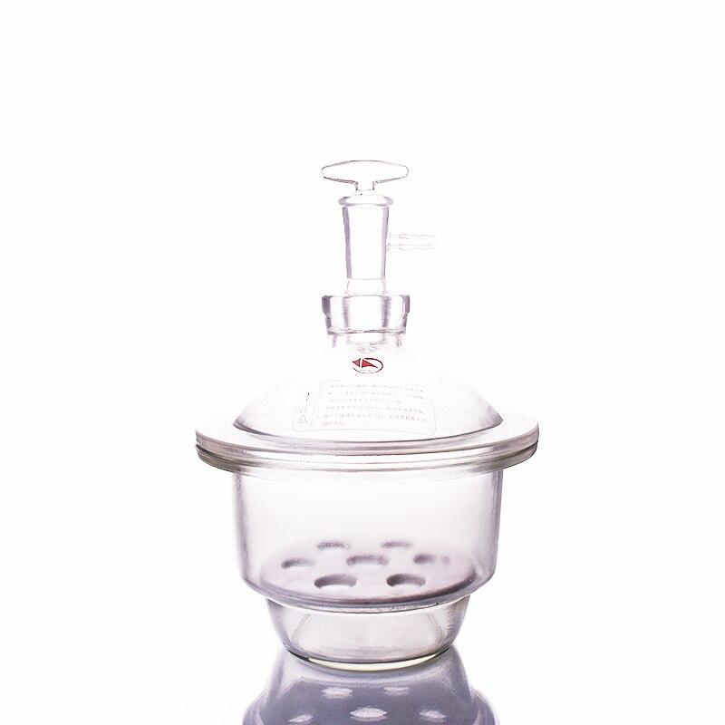 240 мм вакуум эксикаторе ясно с землей в кран и фарфоровая тарелка, белый Стекло Эксикатор, барабан лаборатории, оборудование для сушки